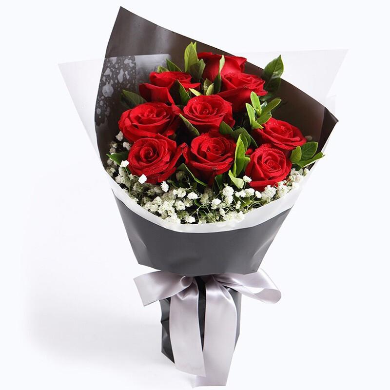 9枝红玫瑰韩式花束