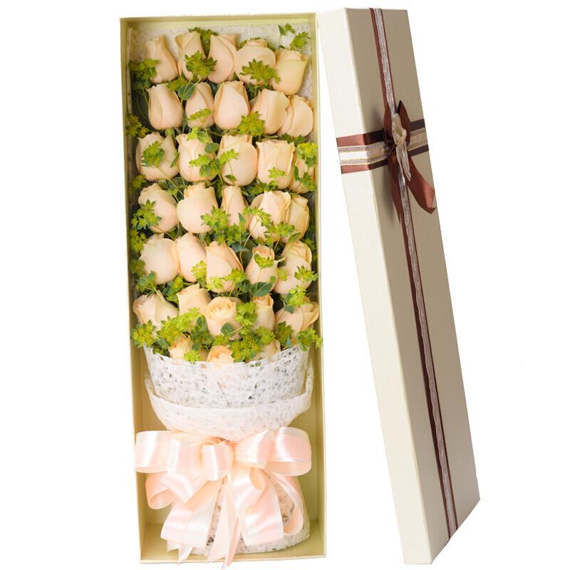 33朵精品香檳玫瑰花束禮盒