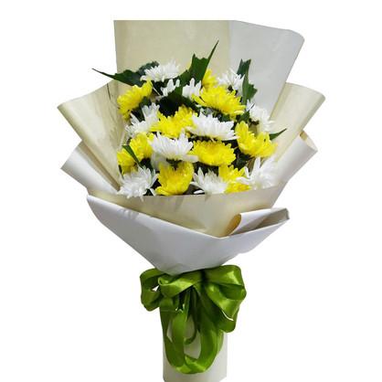 19枝黃白菊花混搭花束