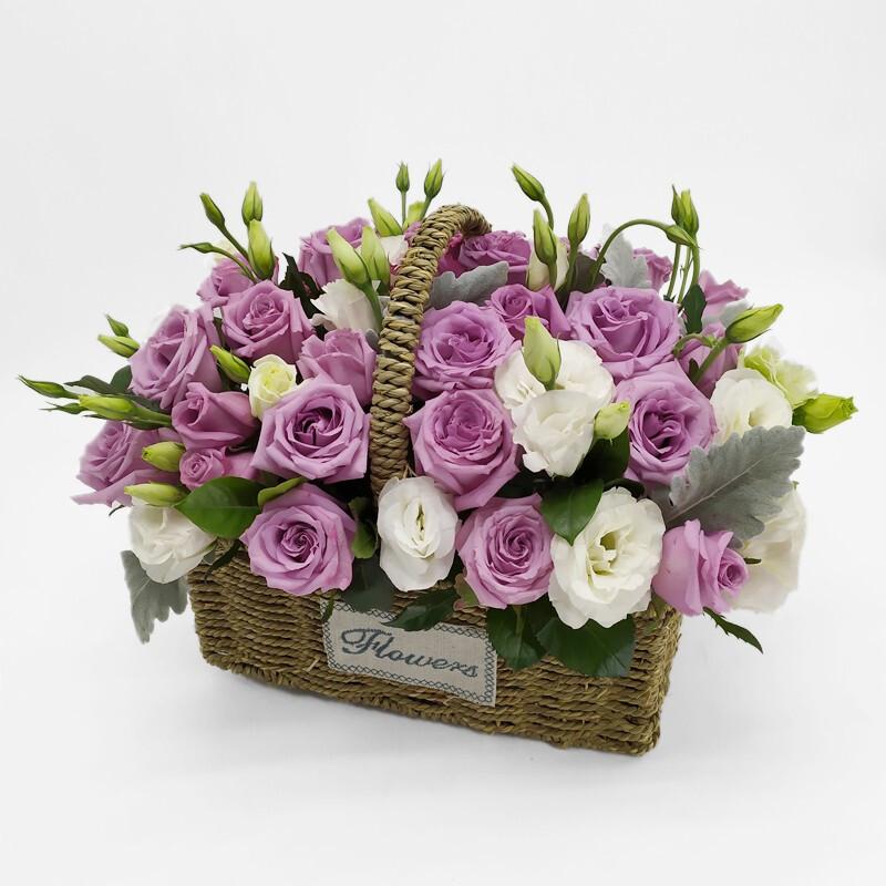 26枝紫玫瑰手提花籃