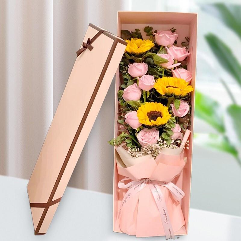 11枝粉玫瑰3枝向日葵花束礼盒