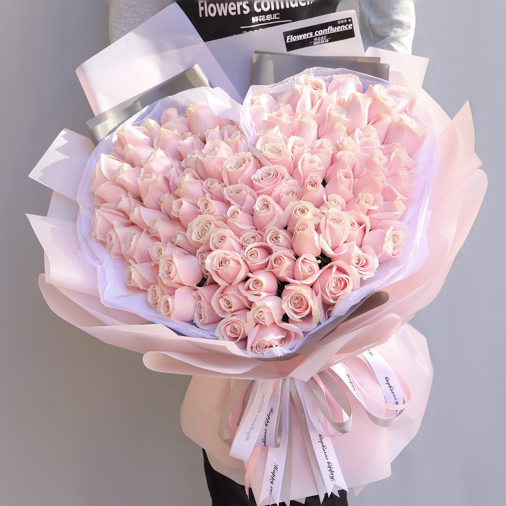 99枝粉红雪山玫瑰韩式花束