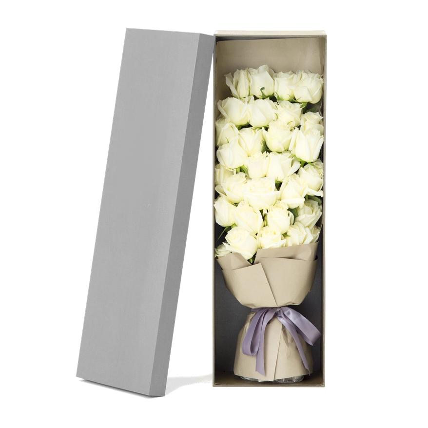 33枝白玫瑰创意礼盒