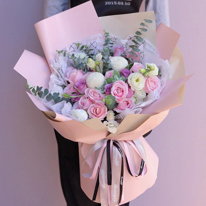 19枝粉紫玫瑰混搭韓式花束