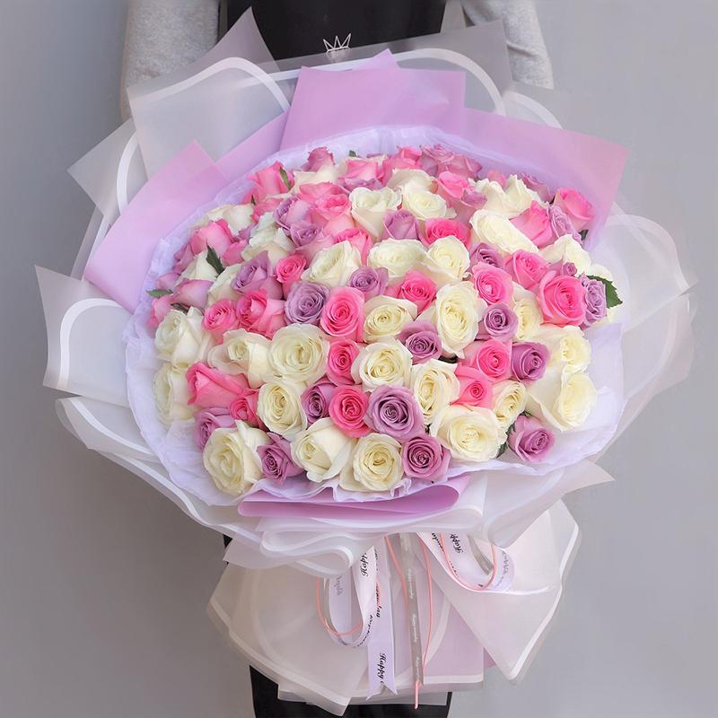 【需提前一天預定】99枝白玫瑰粉玫瑰紫玫瑰混搭韓式花束