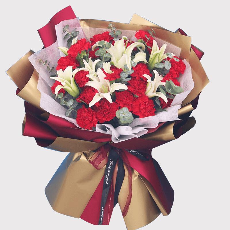 19枝紅色康乃馨百合搭配花束