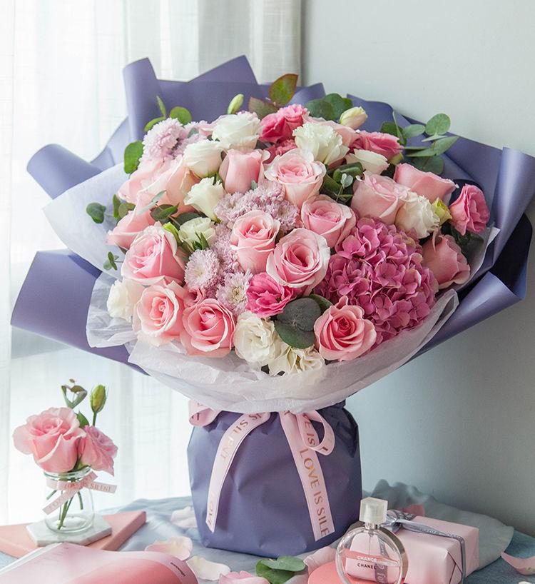 韓式花束 16枝粉佳人花束
