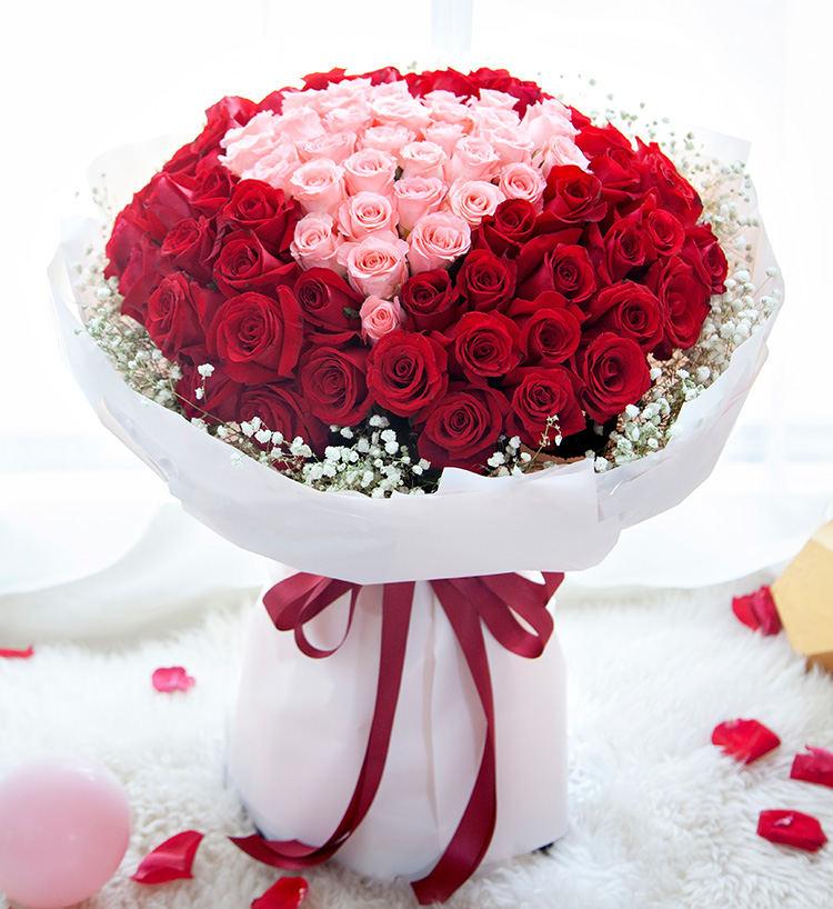 99朵红玫瑰粉玫瑰混搭花束