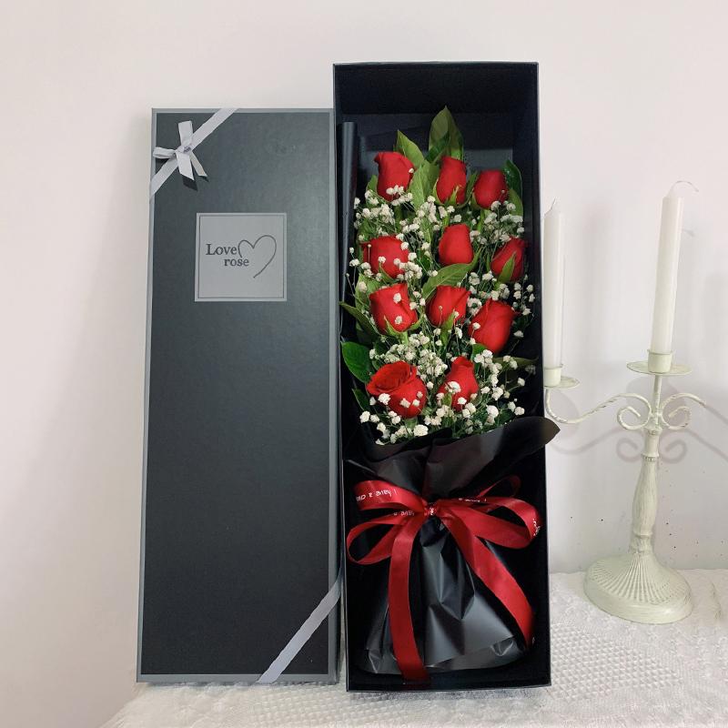 11枝紅玫瑰搭配滿天星精美禮盒