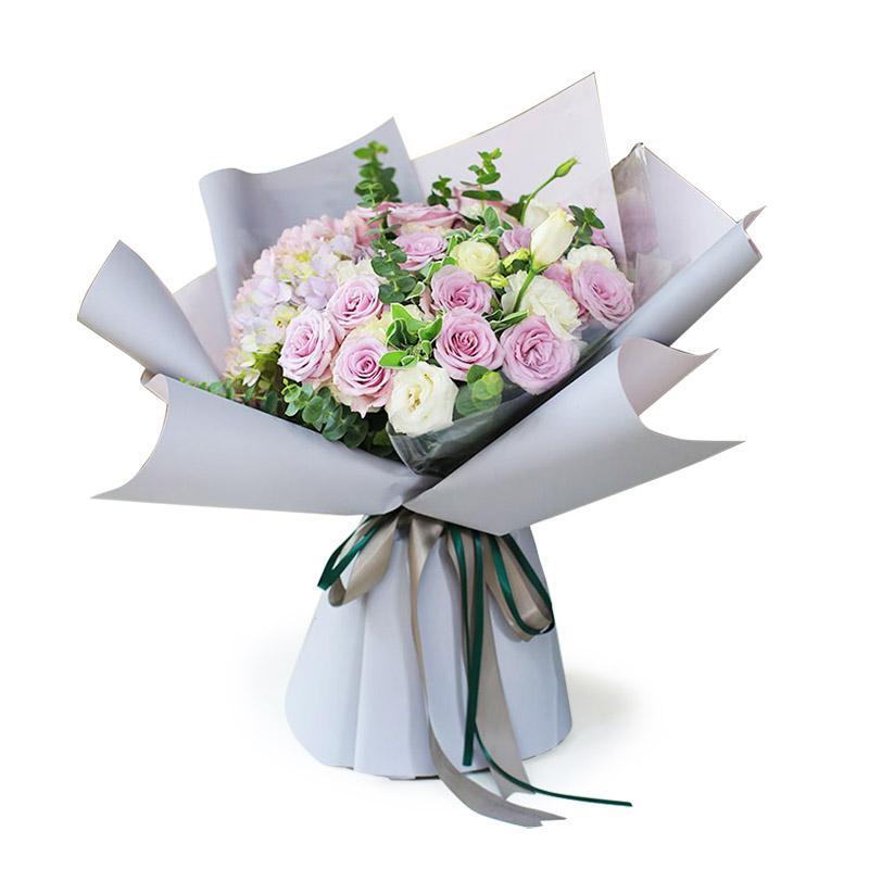 19枝紫玫瑰韓式花束