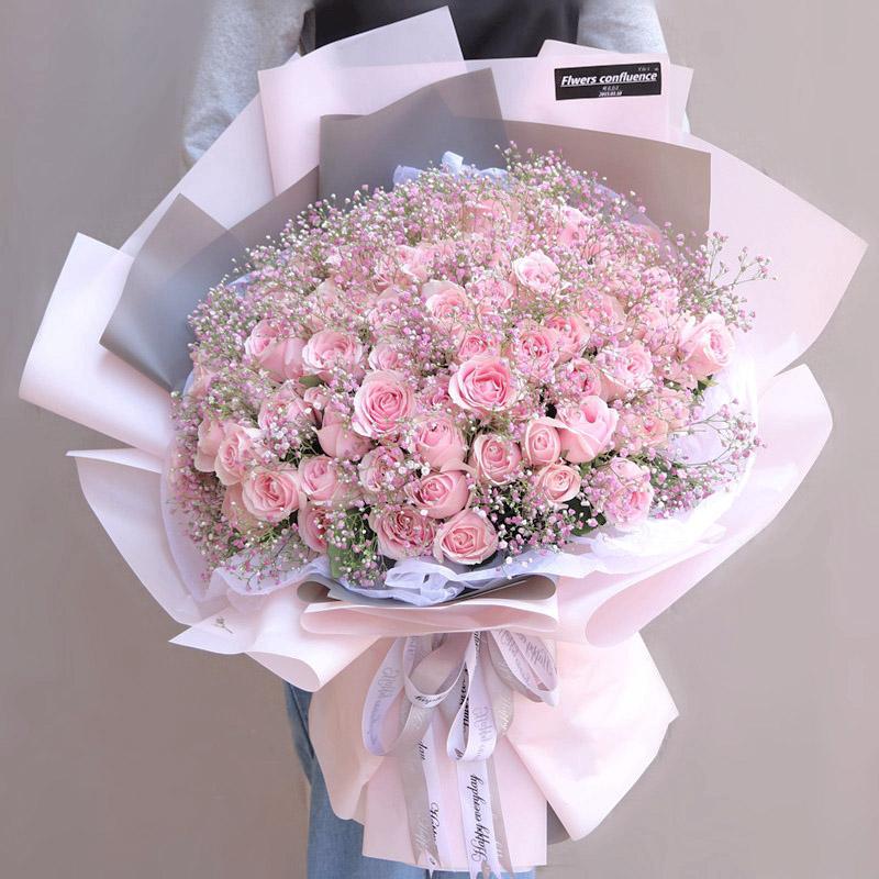99枝粉玫瑰搭配粉色滿天星大花束