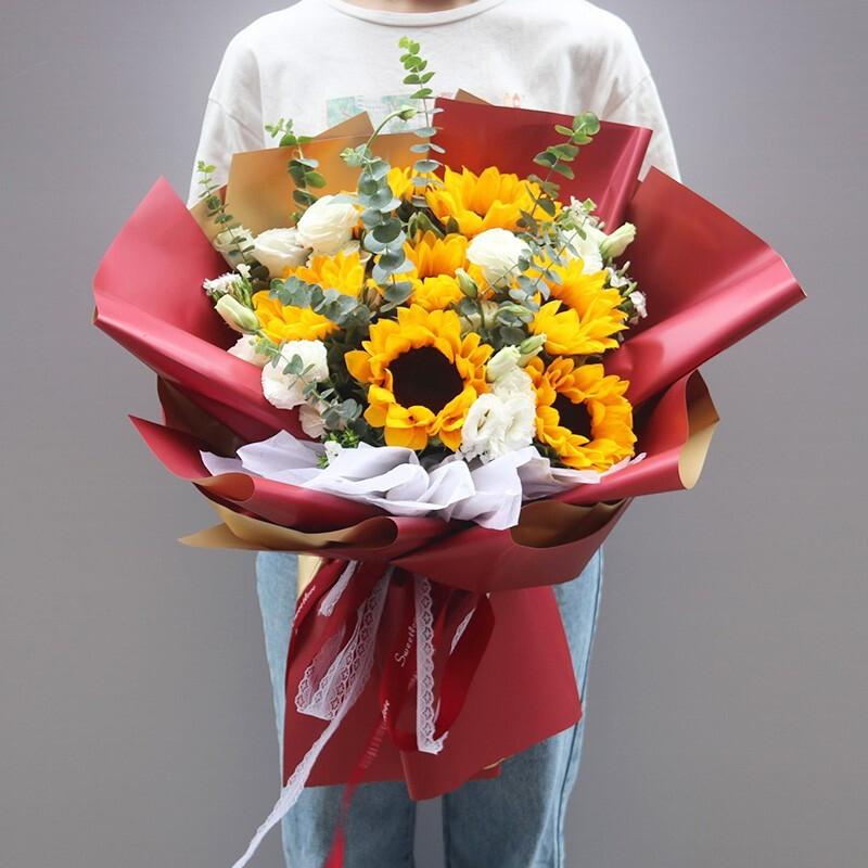 7枝向日葵白桔梗韩式花束