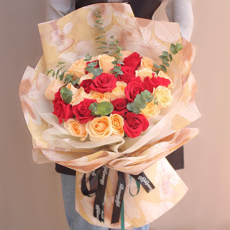 33朵香檳玫瑰紅玫瑰混搭