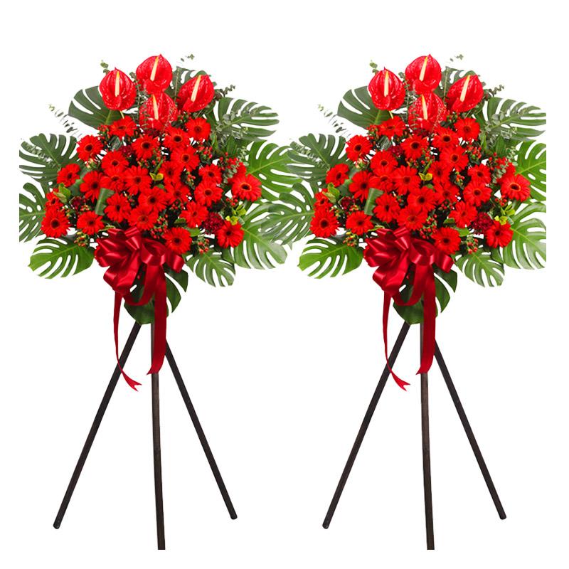 紅紅火火 一對花籃 一層花架