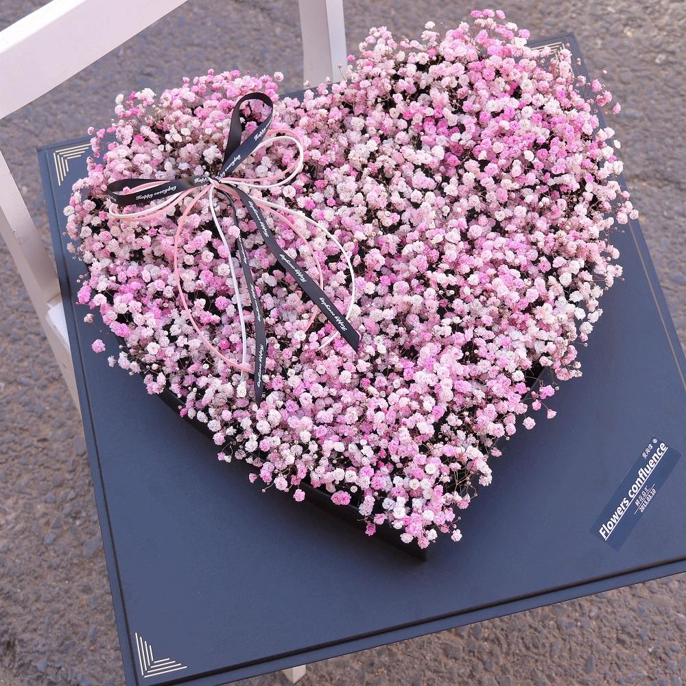 粉色心形满天星   精美礼盒装