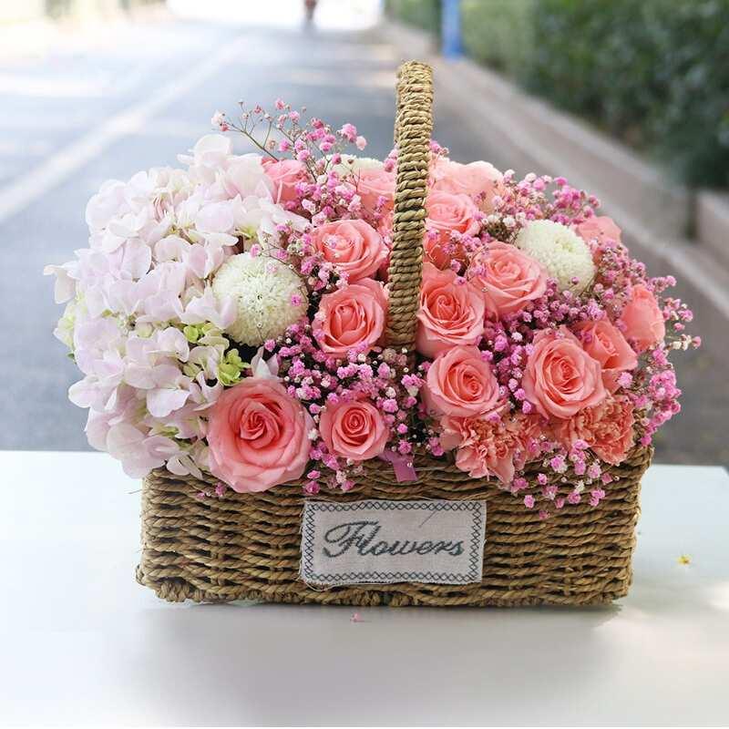 粉玫瑰粉繡球混搭花籃