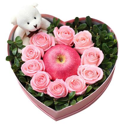 10朵粉玫瑰平安果禮盒