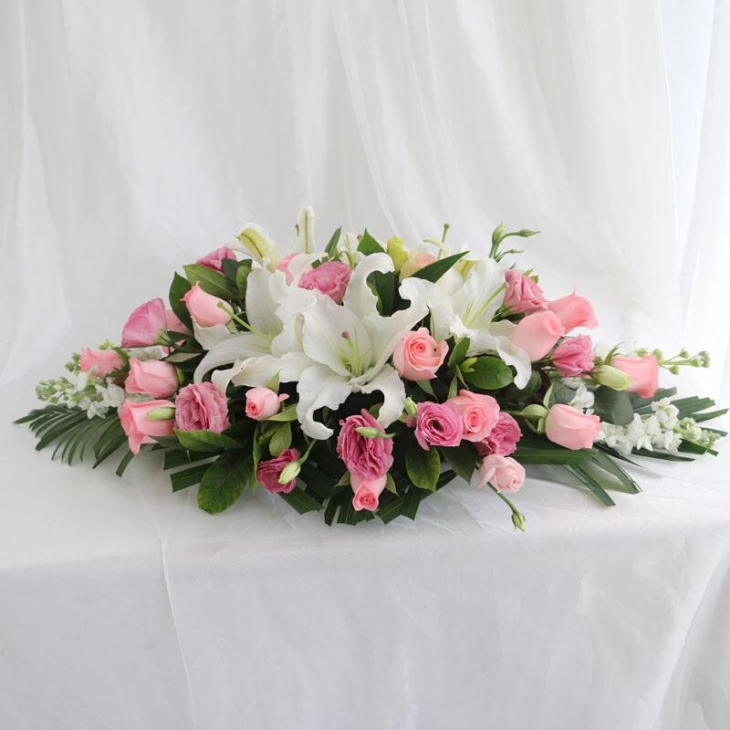 桌花 白百合搭配粉玫瑰系列桌花