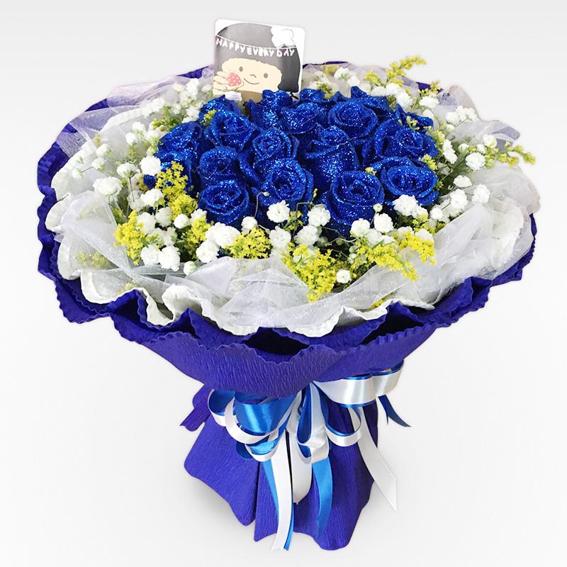 19朵藍色妖姬玫瑰