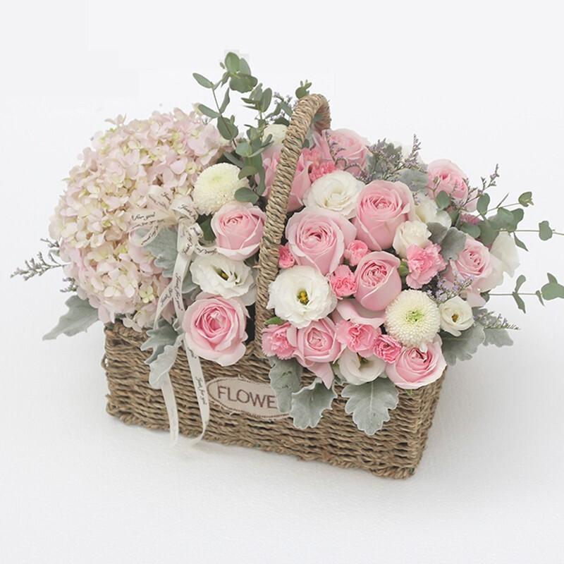 1枝粉繡球搭配16枝粉雪山玫瑰花束