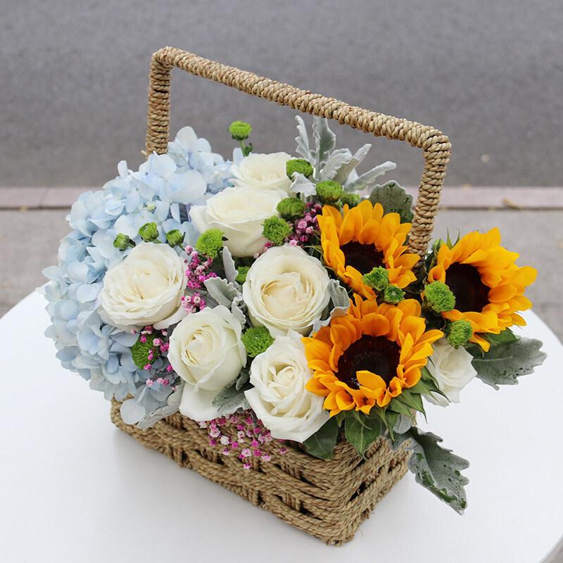 向日葵白玫瑰蓝绣球混合花篮