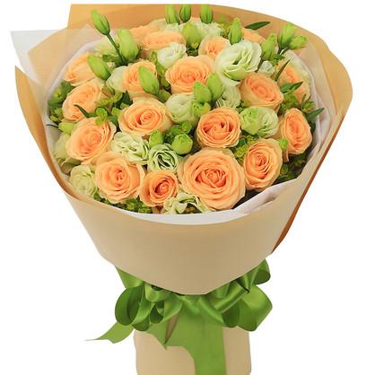 19枝香檳玫瑰精品花束