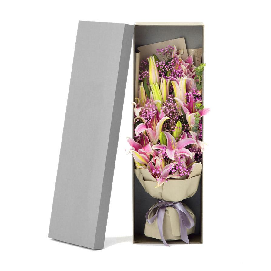 16朵香水百合精美花盒