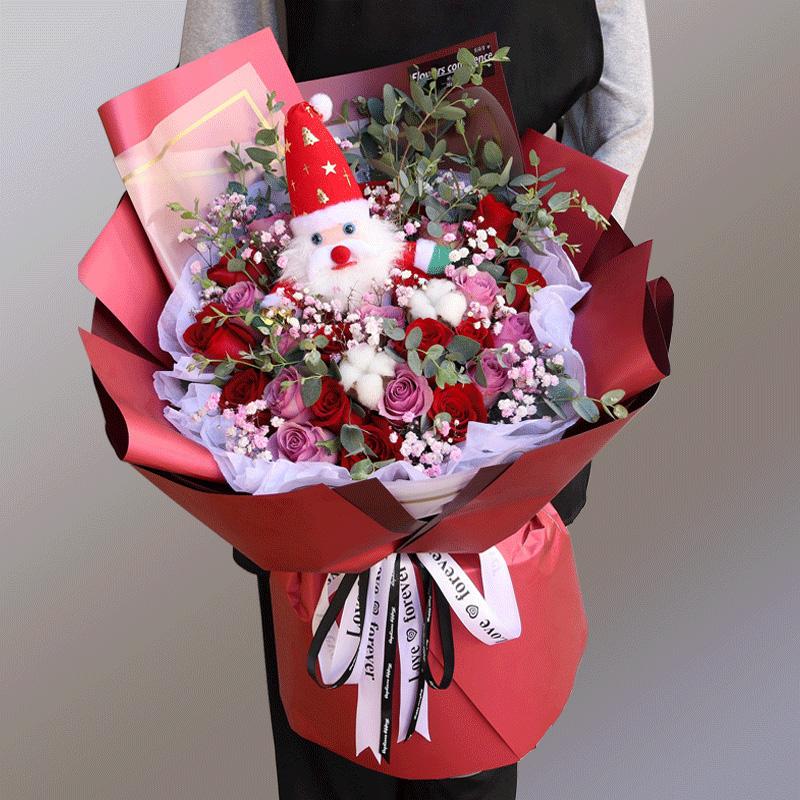 26朵混色玫瑰搭配布偶花束
