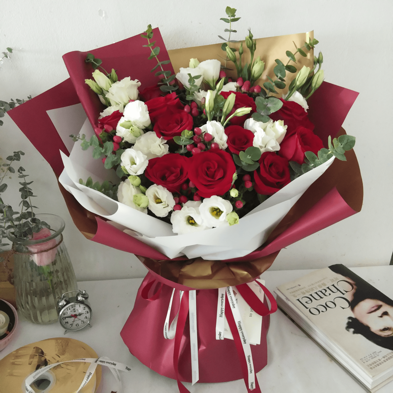 韓式混搭紅玫瑰花束