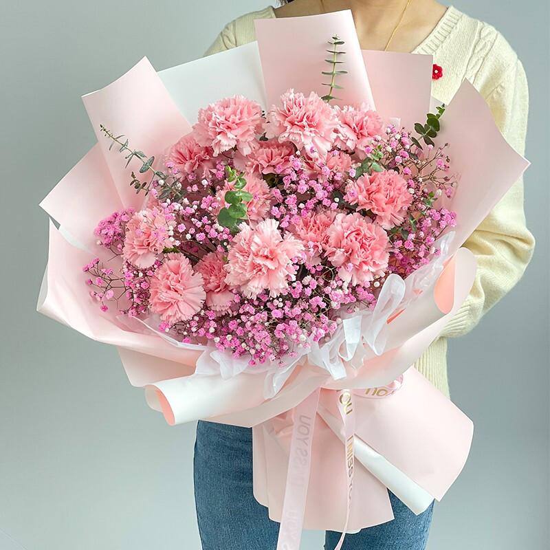 15枝粉色康乃馨粉色满天星韩式花束