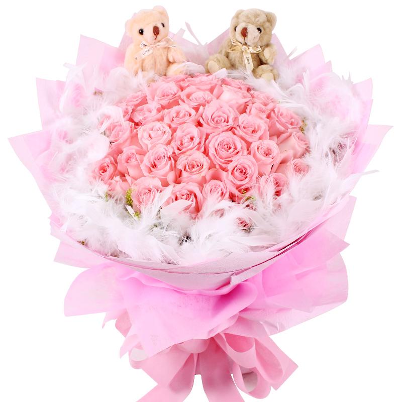 33枝精品粉玫瑰+小熊+白色羽毛花束