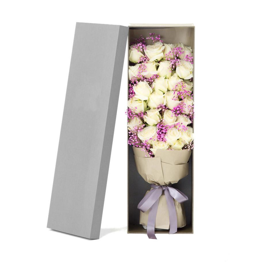 26枝白玫瑰精美礼盒