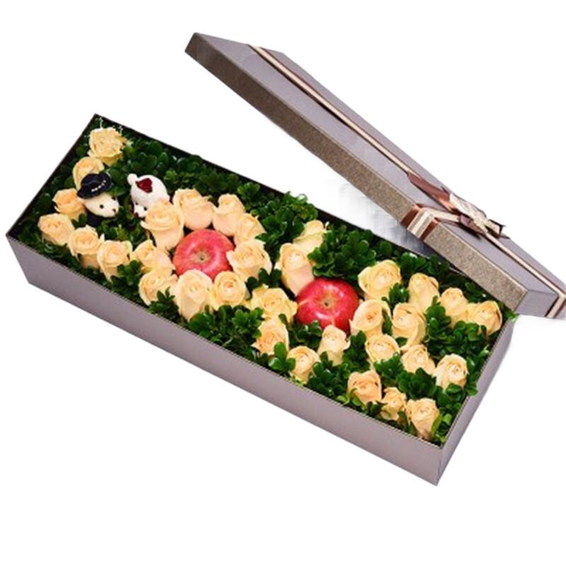 33枝香檳玫瑰2顆平安果禮盒