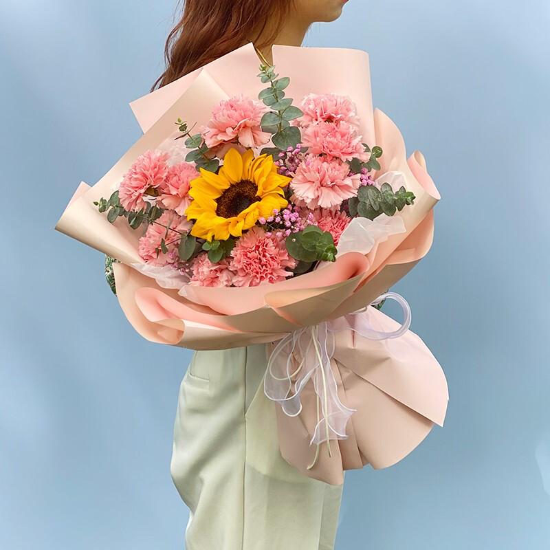 11枝粉康搭配向日葵花束