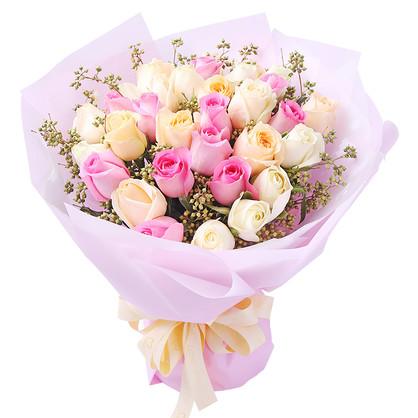 韩式33枝混搭玫瑰花束