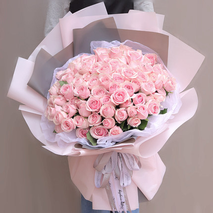 66枝粉雪山玫瑰花束
