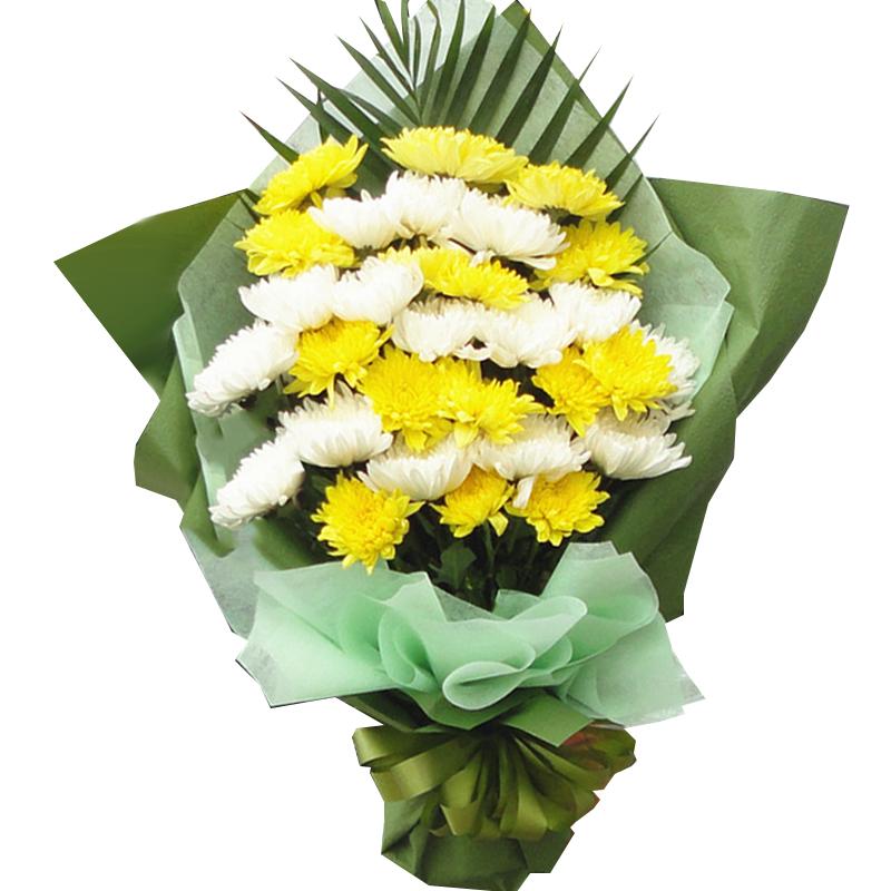 29枝黄白菊间插混搭花束
