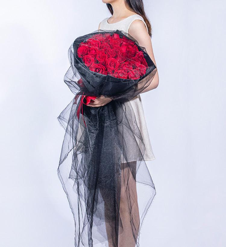 33枝精品紅玫瑰復古網紗款