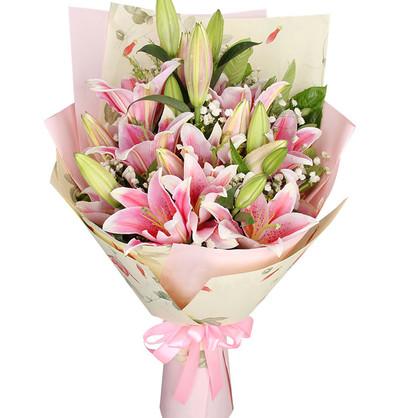 7枝香水百合花束精美花束