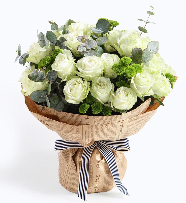 33支雪山白玫瑰復古包裝花束