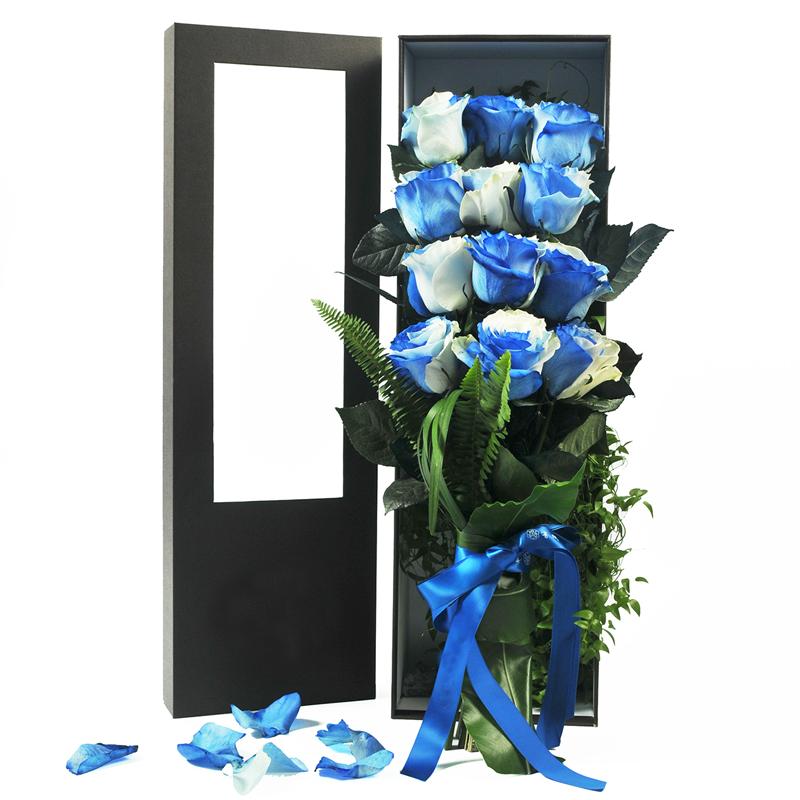 【需提前7日預訂】12朵高端厄瓜多爾進口藍白玫瑰