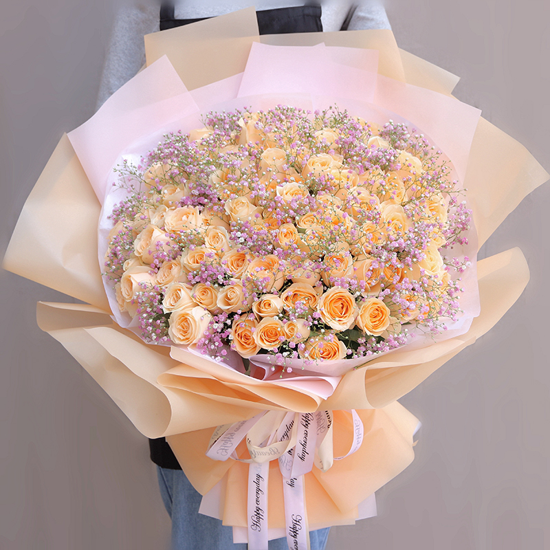 99枝香槟玫瑰配粉色满天星花束
