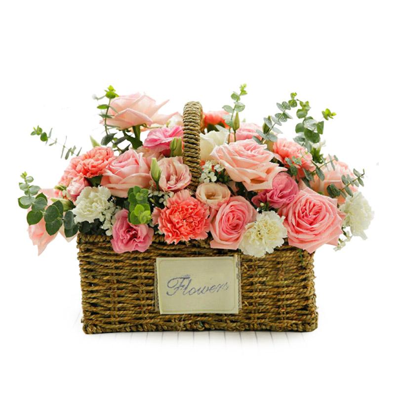 11枝粉玫瑰+11枝康乃馨混搭手提花籃