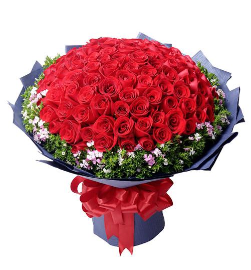 99枝红玫瑰+相思梅精品花束